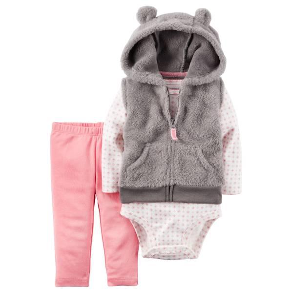 Infant Girl's Multi-Colored 3-Piece Vest, Bodysuit & Pants Set