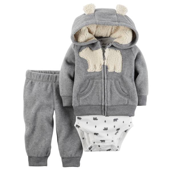 Infant Boy's Gray & White 3-Piece Little Jacket Set