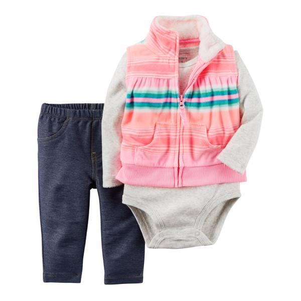 Infant Girl's Multi-Colored 3-Piece Vest Set