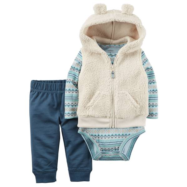 Baby Boy's Multi-Colored 3-Piece Vest, Bodysuit & Pnts Set
