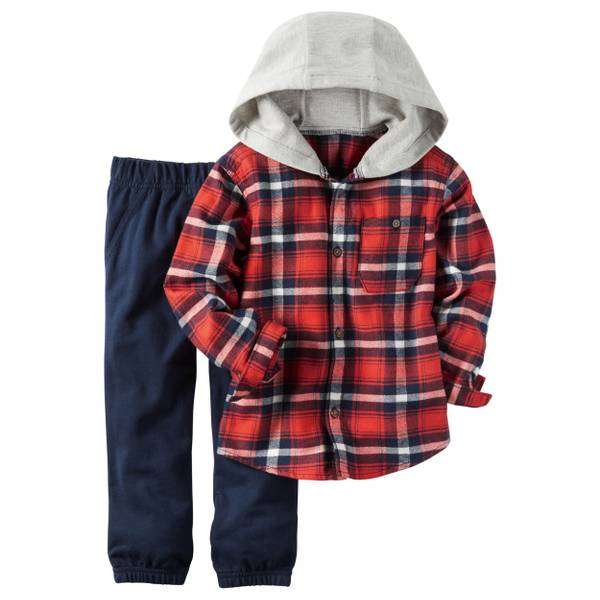 Baby Boy's Multi-Colored 2-Piece Hooded Button-Front Shirt & Joggers Set