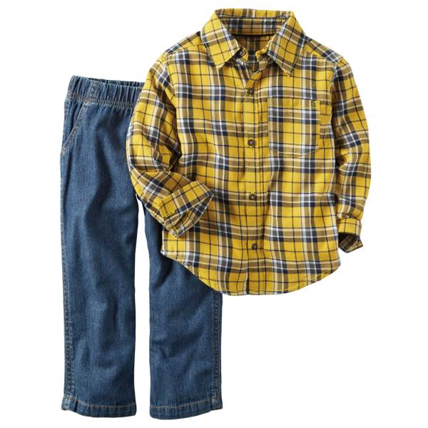 Baby Boy's Yellow & Blue 2-Piece Flannel Button-Front & Denim Set