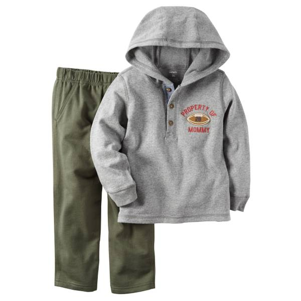 Infant Boy's Gray & Olive 2-Piece Pant Set