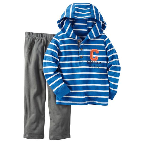 Infant Boy's Blue & Gray 2-Piece Hooded Top & French Terry Pants Set