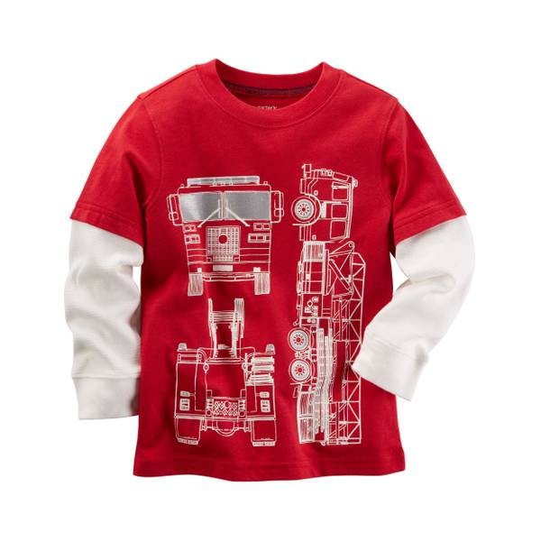 Toddler Boys'  Laye-Look Firetruck Graphic Tee