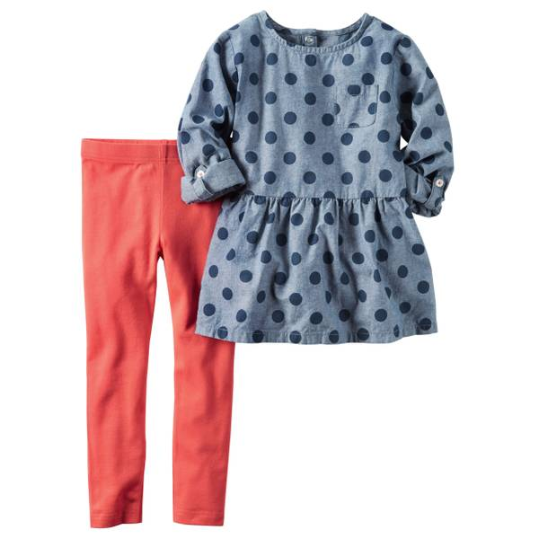 Baby Girl's Chambray & Red 2-Piece Top and Leggings Set