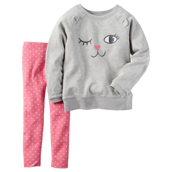 Infant Girl's Pink & Gray 2-Piece French Terry Pullover & Legging Set