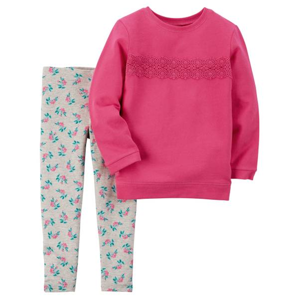 Baby Girl's Magenta & Gray 2-Pece French Terry Pullover & Leggings Set