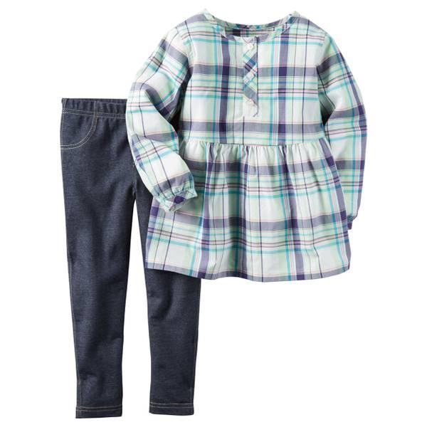 Infant Girl's Purple & Blue 2-Piece Jegging Set
