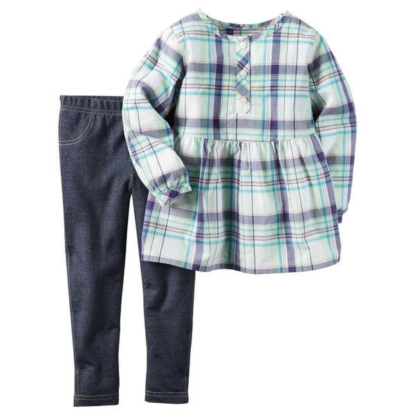Baby Girl's Purple & Blue 2-Piece Jegging Set