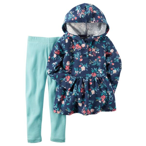 Baby Girl's Navy & Mint 2-Piece French Terry Hoodie & Leggings Set