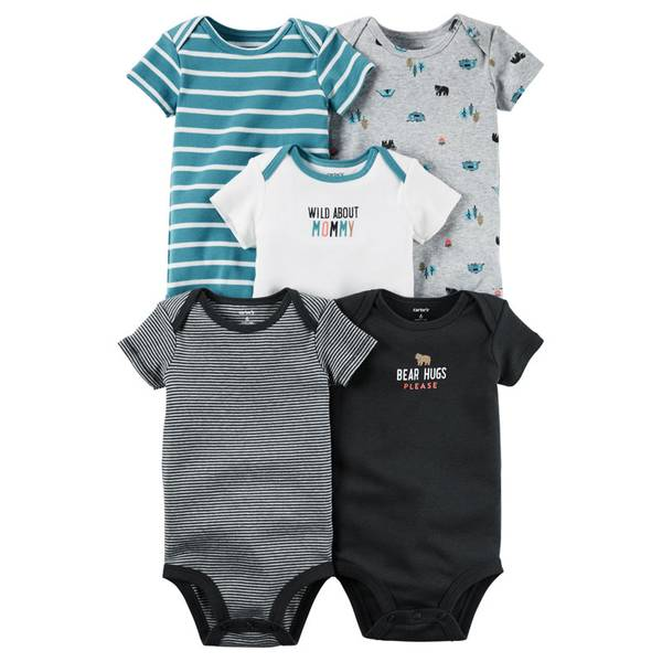 Baby Boys' 5-Pack Short Sleeve Bodysuits