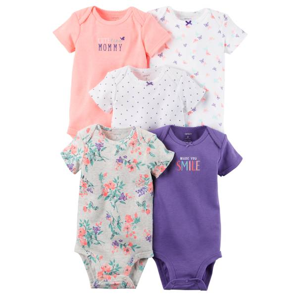 Baby Girls' 5-Pack Short Sleeve Bodysuits