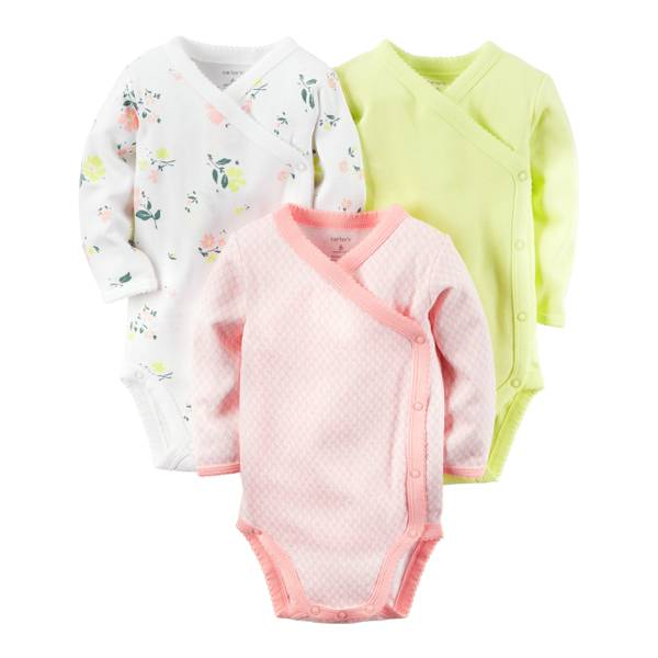 Baby Girls' 3-Pack Long Sleeve Bodysuits