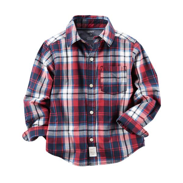 Boys' Red & Multi-Colored Plaid Button-Front Shirt