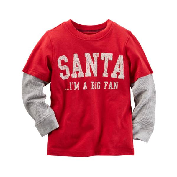 Boys'   Laye-Look Big Santa Fan Christmas Tee