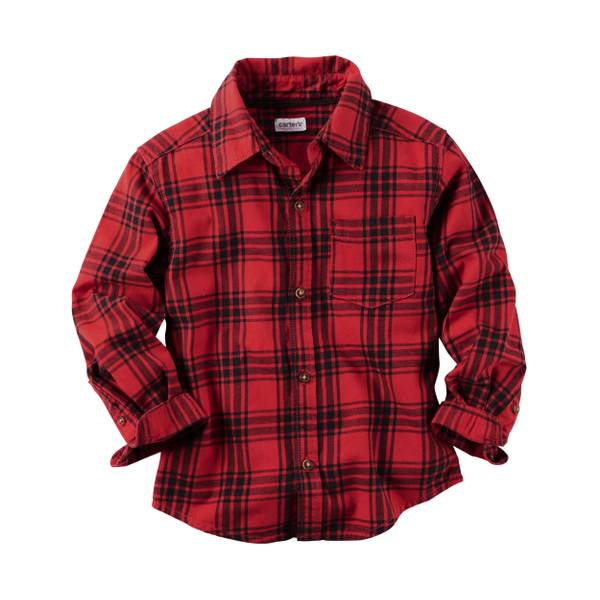 Boys' Red Flannel Plaid Button-Front Shirt