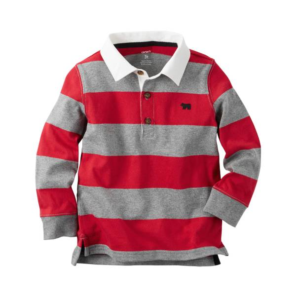 Boys' Red Long-Sleeve Rugby Tee