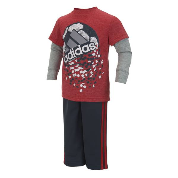 Toddler Boys Red & Grey Shatter 2-Piece Set