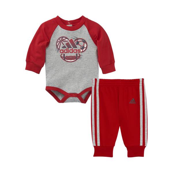 Baby Boys' Red & Gray Sports 2-Piece Set