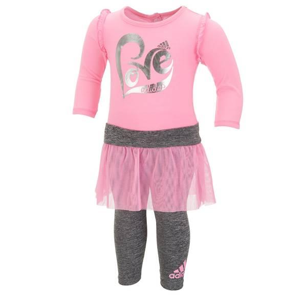 Baby Girls' Cotton Candy & Gray 2-Piece Love Bodysuit Set