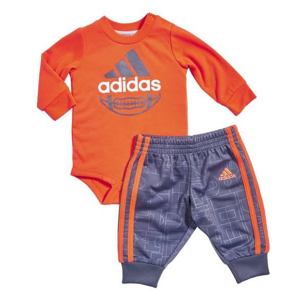 Baby Boys' Orange & Blue 2-Piece Football Printed Bodysuit & Pants Set