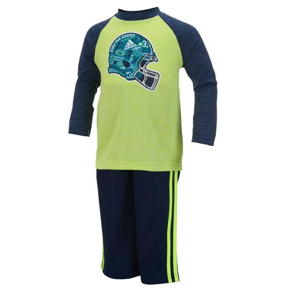 Toddler Boy's Dark Indigo Heather & Green 2-Piece Helmet Te Pants Set