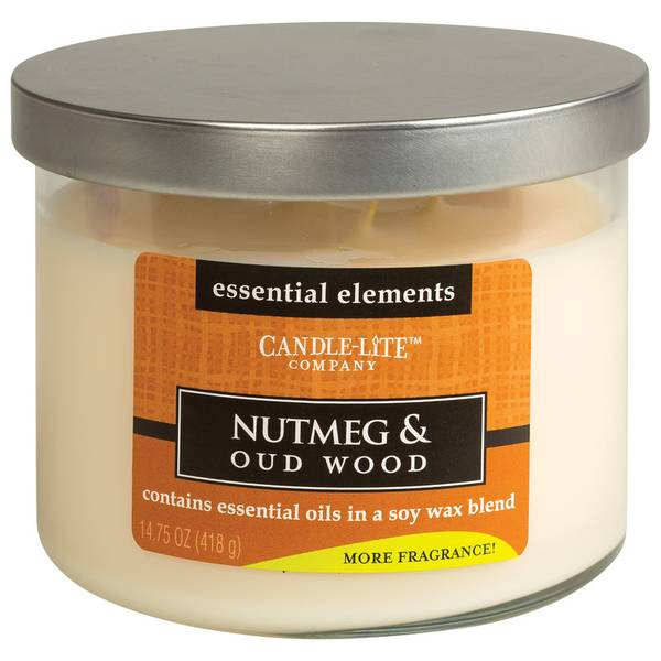 Candle - Lite 3-Wick Essential Elements Nutmeg & Oud Wood ...