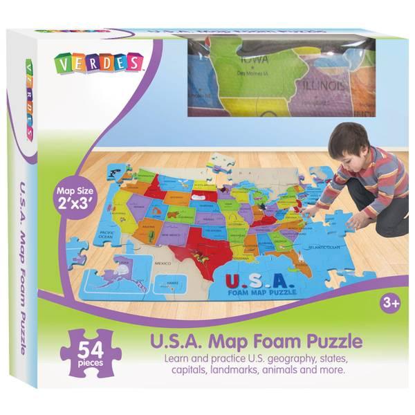 Jumbo Foam USA Map Floor Puzzle