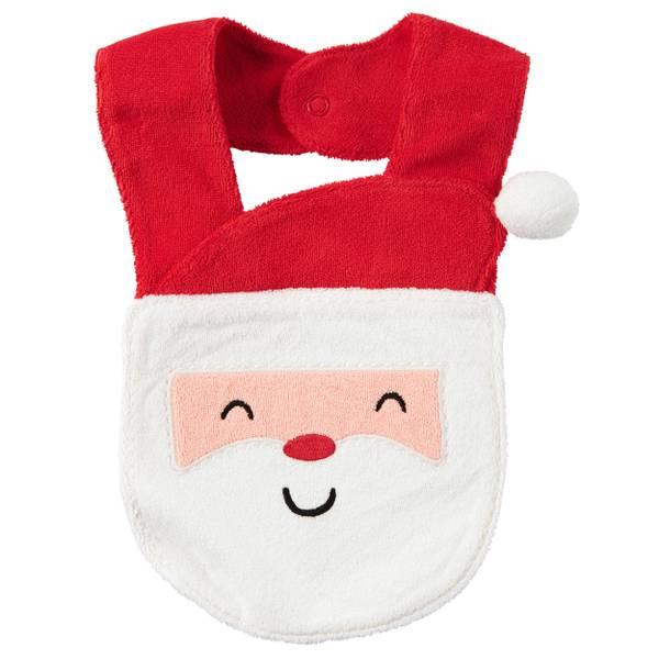 & White & Orange One Size Santa Terry Teething Bib