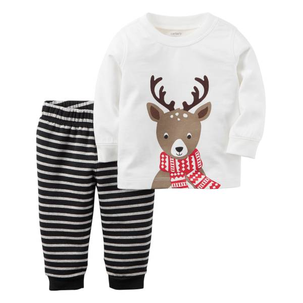 Baby Girl's Multi-Colored 2-iece Reindeer Top & Fleece Pants Set