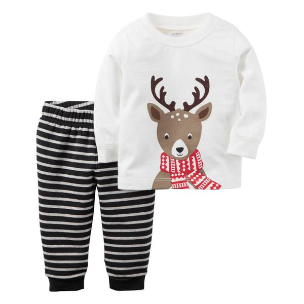Baby Girl's Multi-Colored 2-Piece Reindeer Top & Fleece Pants Set