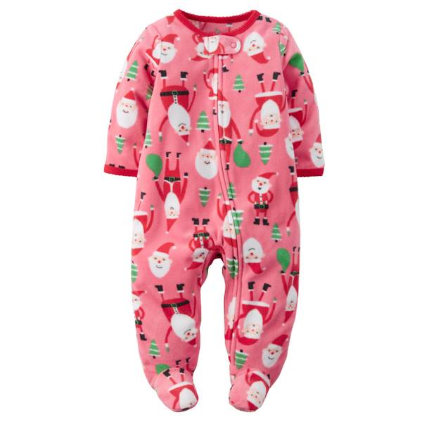 Baby Girls'  & Multi-Colored Santa Fleece Sleep & Play Pajamas