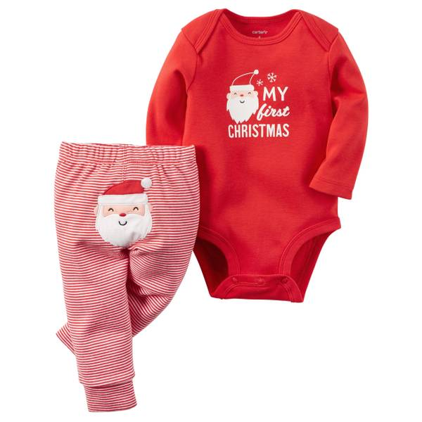 Baby Girl's Red & White 2-Piece Christmas Bodysuit & Pants Set