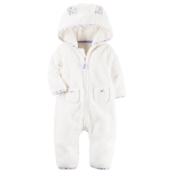 Baby Girl's Ivory 3D nimal Ears Hooded Sherpa Jumpsuit