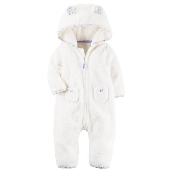 Infant Girl's Ivory 3D Animal Ears Hooded Sherpa Jumpsuit