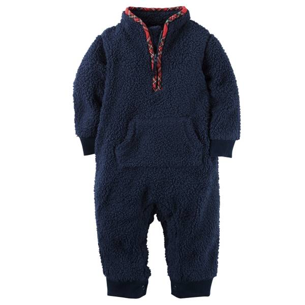 Baby Boy's Navy Sherpa Jupsuit