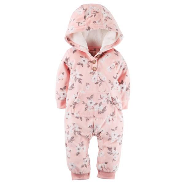 Baby Girl's Pink Hooded Fleece Jumpuit