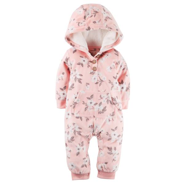 Infant Girl's Pink Hooded Fleece Jumpsuit