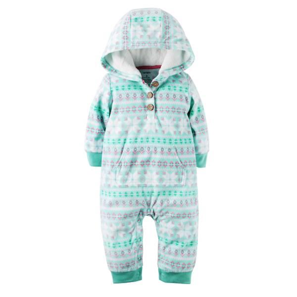 Infant Girl's Turqoise Hooded Fair Isle Fleece Jumpsuit