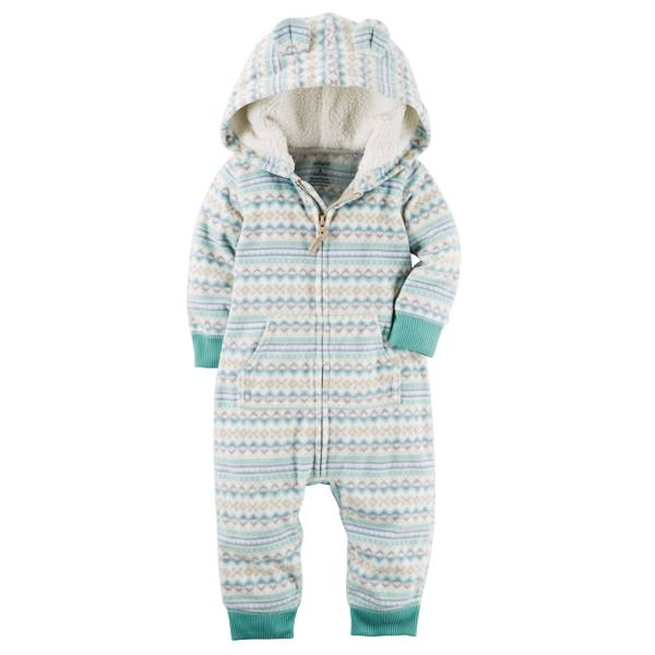 Infant Boy's Mint Hooded Fleece Jumpsuit