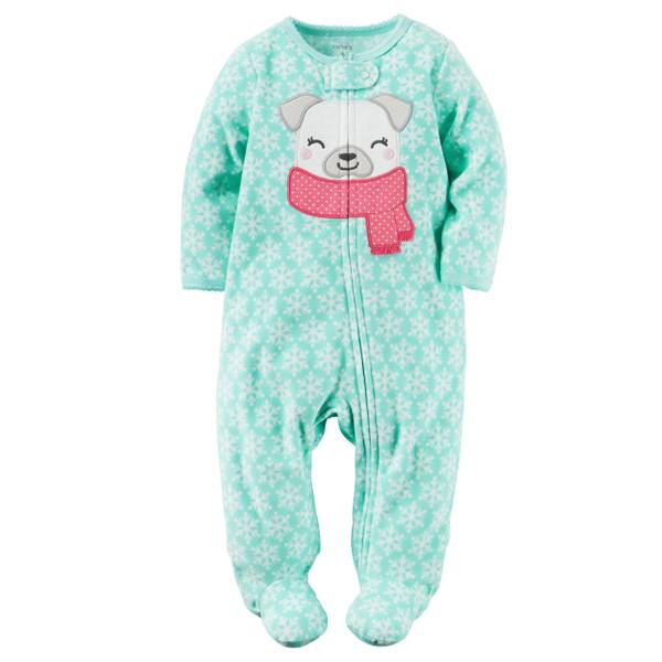 Baby Girls'  Pug Applique Fleece Pajamas