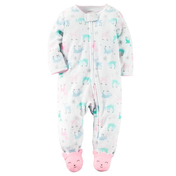 Baby Girls'  Reindeer Print Zip-Up Sleep & Play Pajamas