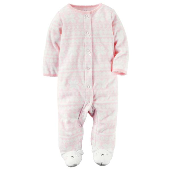 Baby Girls' Pink Allover Fair Isle Print Snap-Up Pajamas