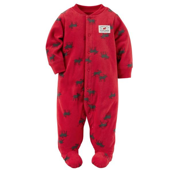 Baby Boys' Red Allover Reindeer Print Pajamas