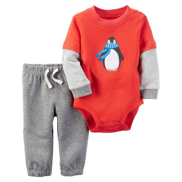 Baby's Red & Gray 2-Piece Bodysuit & Pants Set