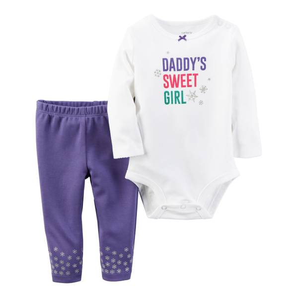 Baby Girl's White & Purple 2-Piece Bodysuit & Pants Set