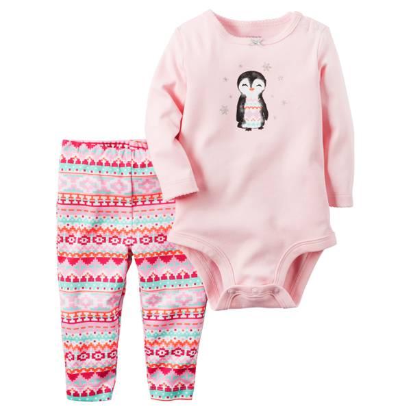 Baby Girl's Pink 2-Piece Bodysuit & PantsSet
