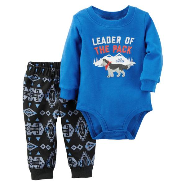 "Infant Boy's Blue & Navy 2-Piece ""Leader Of The Pack"" Bodysuit & Pants Set"