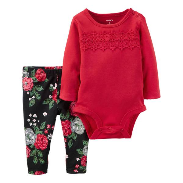 Infant Girl's Multi-Colored 2-Piece Bodysuit & Pants Set